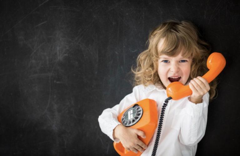 kid on phone yelling